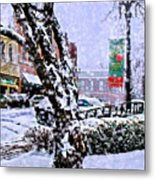 Liberty Square In Winter Metal Print