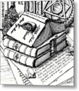 Library Book Fairy House Metal Print