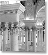 Library Of Congress 2 Black And White Metal Print