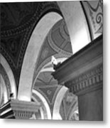 Library Of Congress 3 Black And White Metal Print