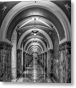 Library Of Congress Building Hallway Bw Metal Print
