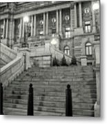 Library Of Congress In Black And White Metal Print