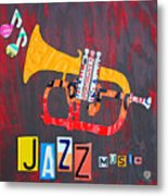 License Plate Art Jazz Series Number One Trumpet Metal Print