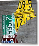 License Plate Map Of New England States Metal Print