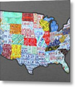 License Plate Map Of The United States Edition 2016 On Steel Background Metal Print