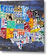 License Plate Map Of The Usa On Blue Wood Boards Metal Print