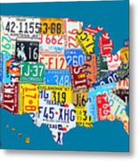 License Plate Map Of The Usa On Royal Blue Metal Print