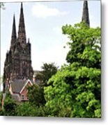 Lichfield Cathedral From Minster Pool Metal Print