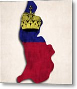 Liechtenstein Map Art With Flag Design Metal Print