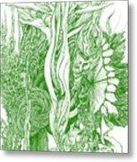 Life Force  - Green Metal Print