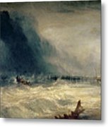 Lifeboat And Manby Apparatus Going Off To A Stranded Vessel Making Signal Of Distress Metal Print