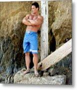 Lifeguard At El Matador Metal Print