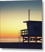 Lifeguard Tower At Sunset Metal Print