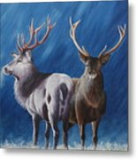 Light And Dark Stags Metal Print