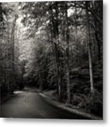 Light And Shadow On A Mountain Road In Black And White Metal Print