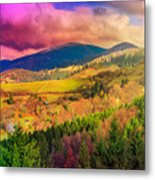 Light  Beam Falls On Hillside With Autumn Forest In Mountain Metal Print