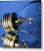 Light Bulb - Blue Metal Print