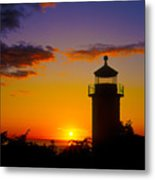 Light House At Fort Casey Washington Metal Print