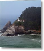 Light House In Fog Metal Print