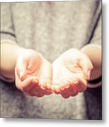 Light In Young Woman's Hands Metal Print