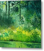 Light N Greens Metal Print