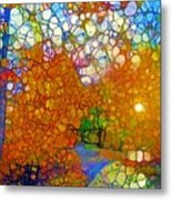 Light On The Autumn Path Metal Print