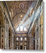 Light Rays In St Peter's, Rome Metal Print