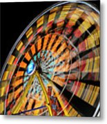Light Streaks From The Spinning Ferris Wheel And Swing At Night  Metal Print