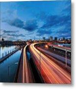 Light Trails Along Willamette River Metal Print