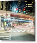 Light Trails On 17th And Market Metal Print