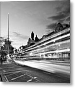 Light Trails On O'connell Street At Night - Dublin Metal Print