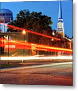 Light Trails In Front Of Bentonville Record And Water Tower Metal Print
