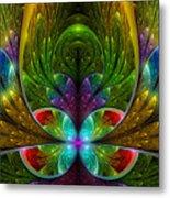 Lighted Flower Fractal Metal Print