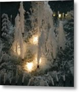 Lighted Fountain Metal Print