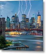 Lightening Striking Manhattan Metal Print
