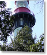 Lighthouse Among The Live Oaks Metal Print
