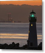 Lighthouse And Power Plant At Dawn Metal Print