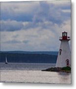 Lighthouse And A Sail Boat In Nova Scotia Metal Print