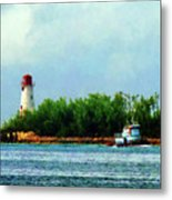 Lighthouse And Boat Nassau Bahamas Metal Print