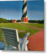 Lighthouse And Chair Metal Print