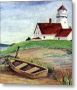 Lighthouse And Dinghy Metal Print