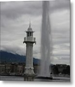 Lighthouse And Fountain Metal Print