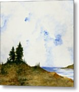 Lighthouse And Pine Trees Metal Print