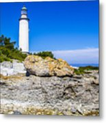 Lighthouse And Rocks Metal Print
