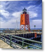 Lighthouse At Charlevoix South Pier  Metal Print