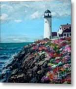 Lighthouse At Flower Point Metal Print