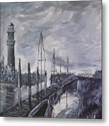 Lighthouse At Low Tide Metal Print