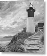 Lighthouse at Sunset - Black and White Metal Print