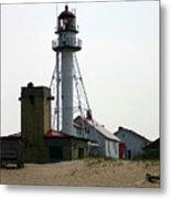 Lighthouse At White Fish Point Michigan Metal Print