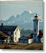 Lighthouse Before Mountain Metal Print